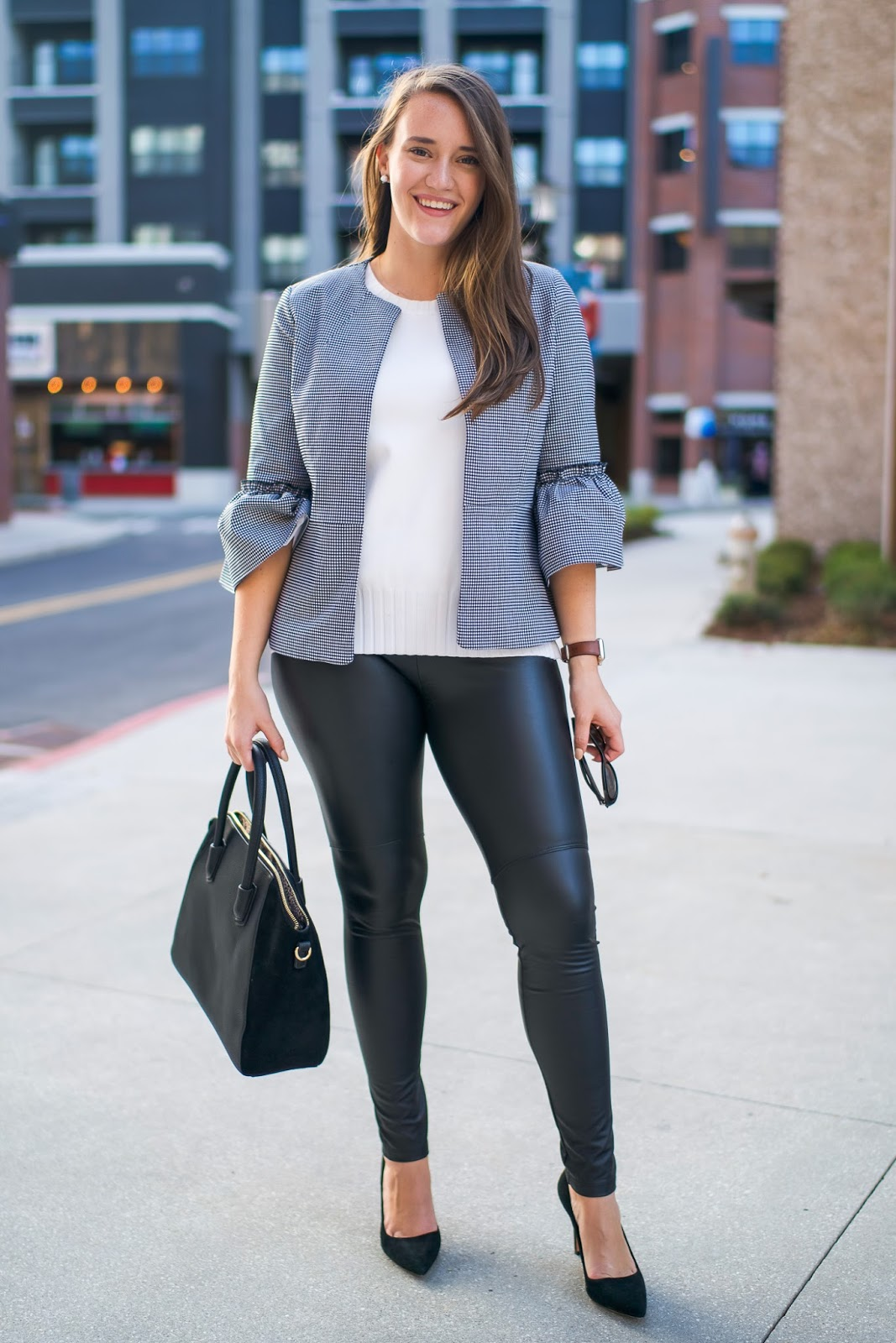 How To Wear Leather Leggings To Work | New York City Fashion And Lifestyle Blog | Covering The Bases