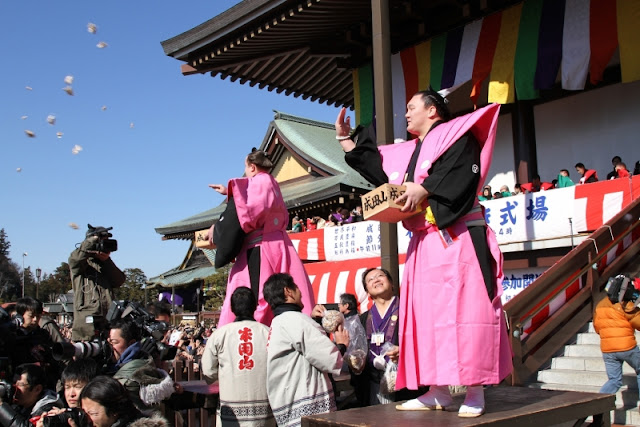 Luck in! Celebrities join Setsubun bean-throwing event
