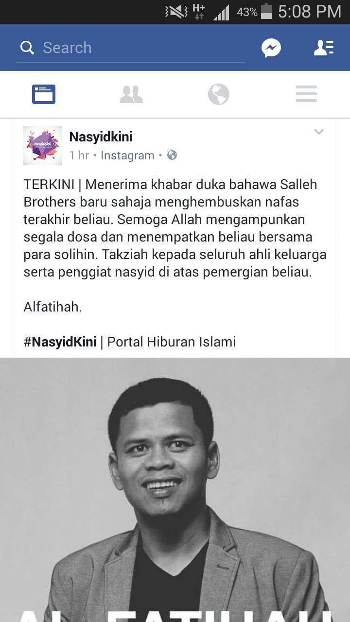 Ahli Kumpulan Nasyid Brothers, Salleh Meninggal Dunia