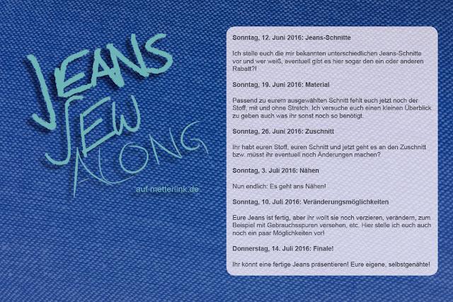 Jeans-Sew-Along, metterlink, Zeitplan