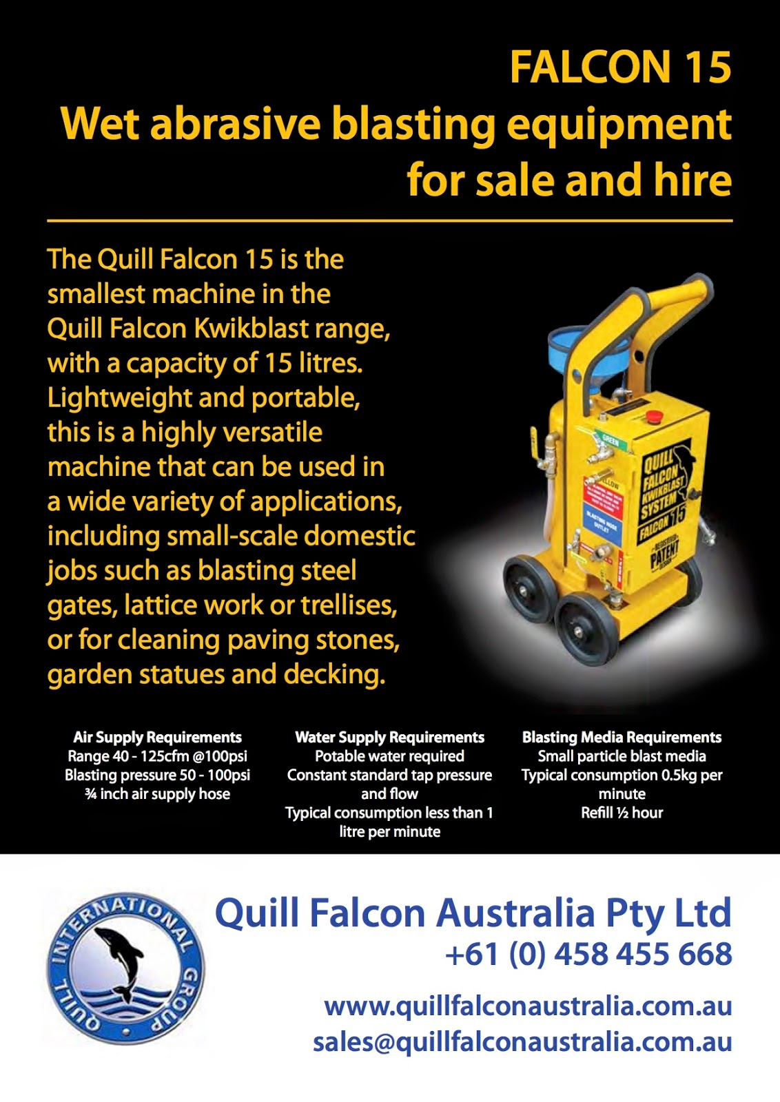 Quill Falcon Australia | Wet Abrasive Blasting Equipment for Sale and Hire