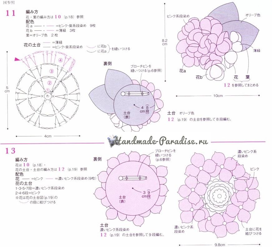 Броши крючком с цветами гортензии (2)