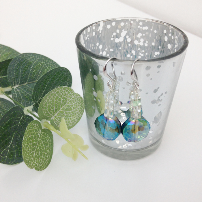 Perfect party earrings - turquoise and clear crystal earrings