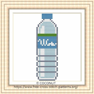 WATER BOTTLE, FREE AND EASY PRINTABLE CROSS STITCH PATTERN