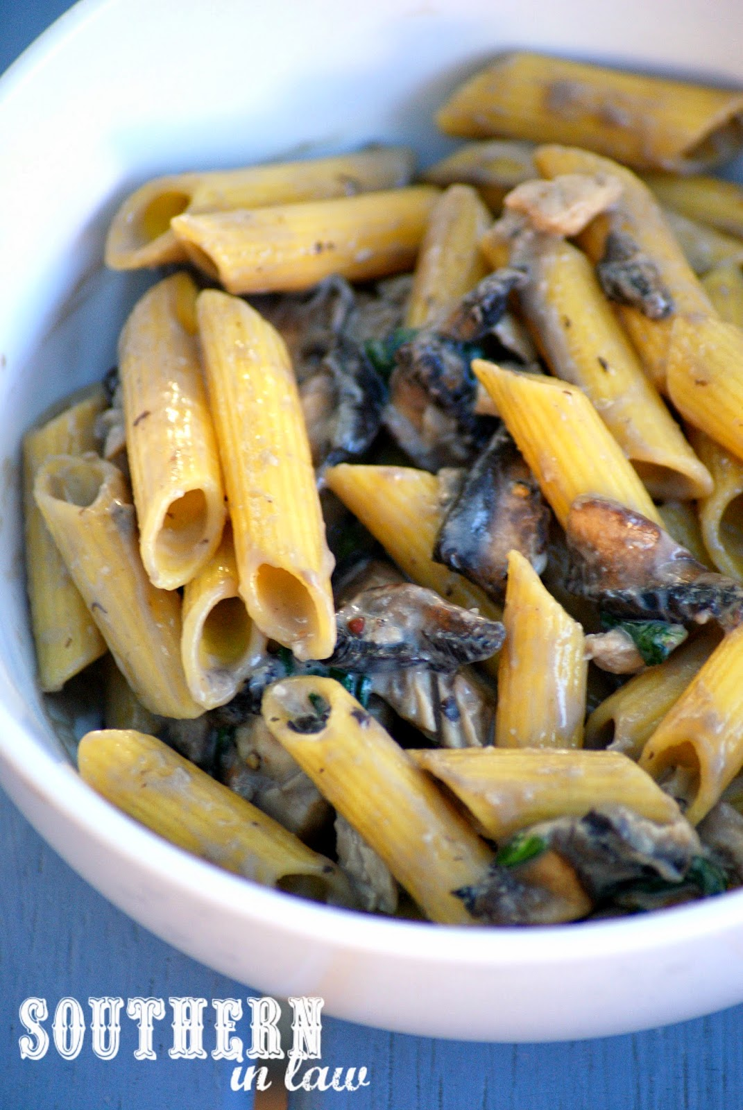 Healthy Creamy Chicken and Mushroom Pasta Recipe - low fat, gluten free, clean eating friendly