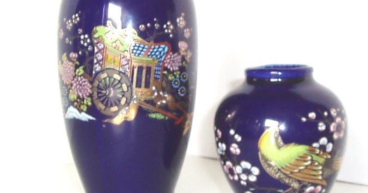 Pottery And Glass Art Hand Decorated Porcelain Vase And Urn Cobalt Imperial Japan Kutani