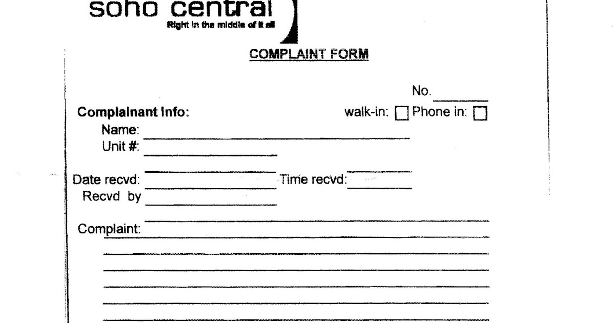 Soho Central Condominium Soho Central Complaint Form (enlarged)