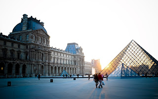 Paris Louvre Glass Pyramid Architecture Sun Lights HD Wallpaper