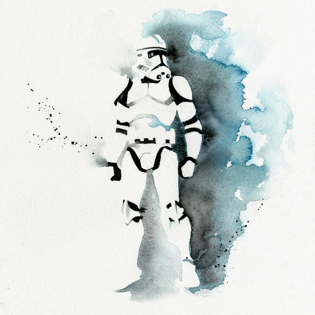 11-Stormtrooper-Clémentine-Campardou-Blule-Star-Wars-IV-V-VI-Watercolors-www-designstack-co
