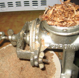 Soup ingredients in a manual grinder