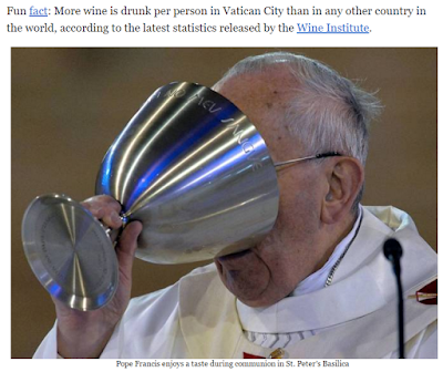 Pope Francis Drinking Wine