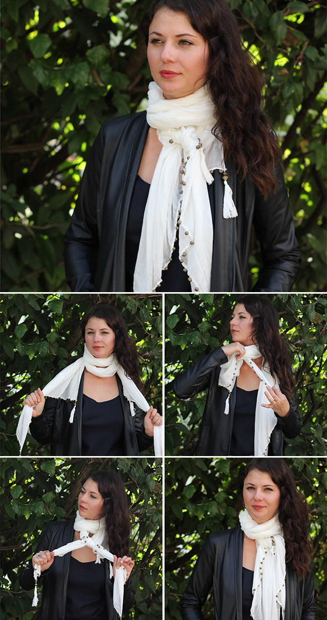 Как красиво завязать платок на шее под пальто
