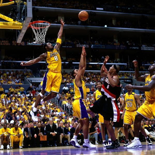 Kobe Bryant attempts to block a shot during Game 7 of the NBA Western Conference Finals...on June 4, 2000.