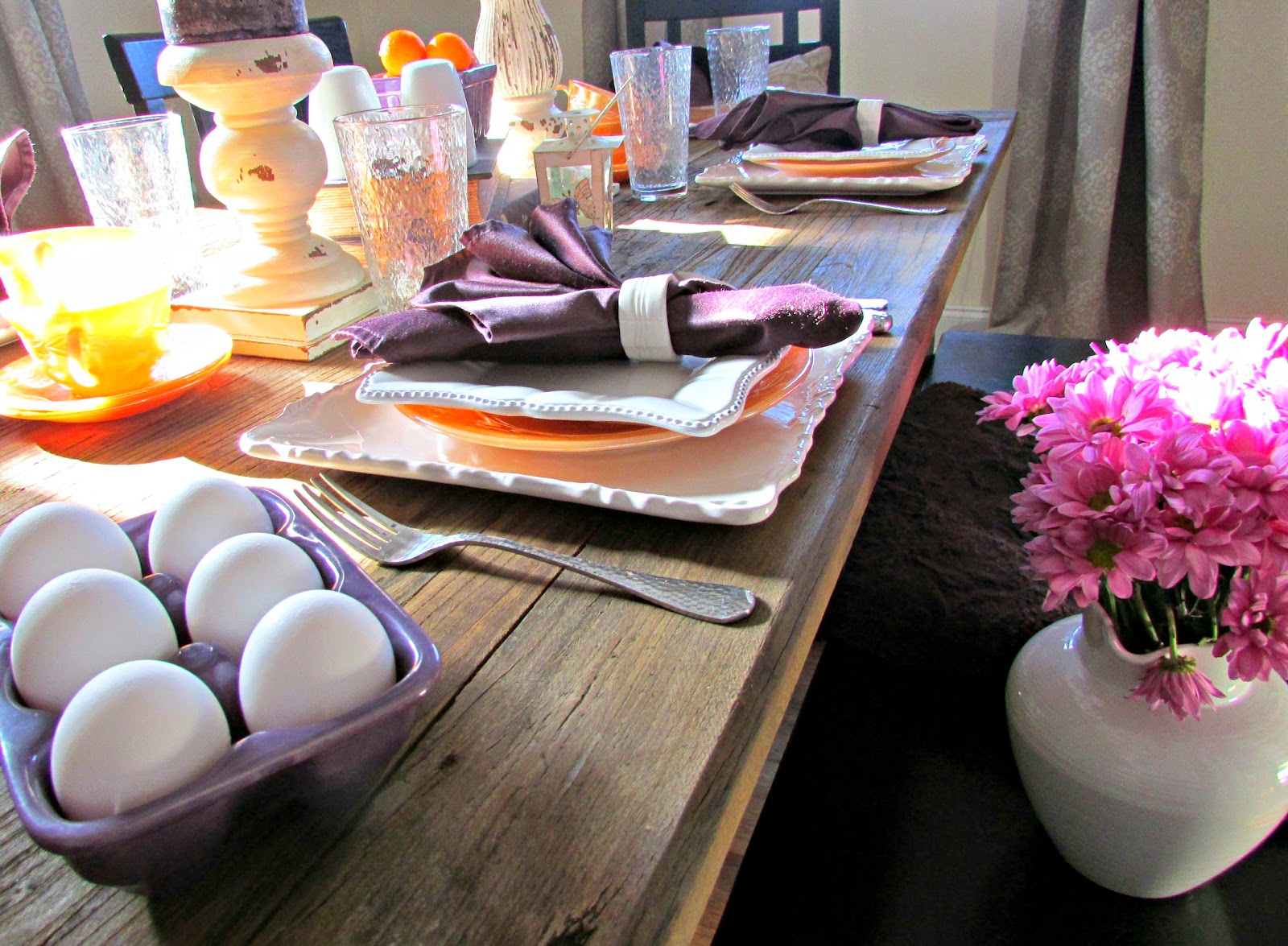 Orange and White Table Setting for Breakfast