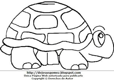 Dibujo de tortuga para colorear, pintar o imprimir, hecha para niños. Dibujo hecho por Jesus Gómez