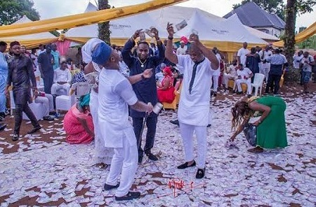 The Amount of Money Sprayed on this Couple During Traditional Wedding in Imo Has Got People Talking (Photos)