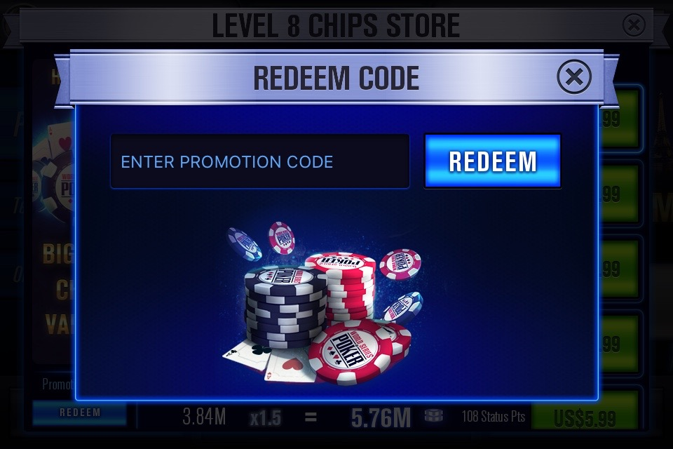 list wsop free chips redeem codes