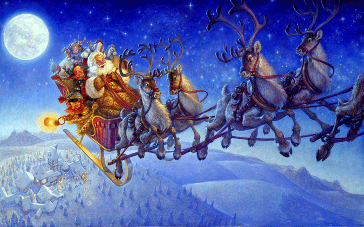 Santa claus on sleigh wallpapers and reindeer christmas ...
