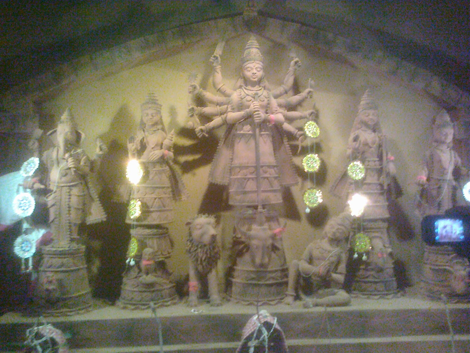 Muddy idols of kolkata durga pujo in west bengal