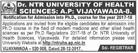 dr.ntruhs ph.d admission 2018 notification,guides,centers and application form,list of documents, how to apply,last date,http://ntruhs.ap.nic.in,dr ntr university of health sciences