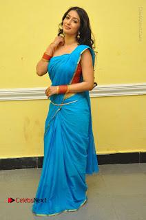 Telugu Actress Vaibhavi Stills in Blue Saree at Www.Meena Bazaar Movie Opening  0111.JPG