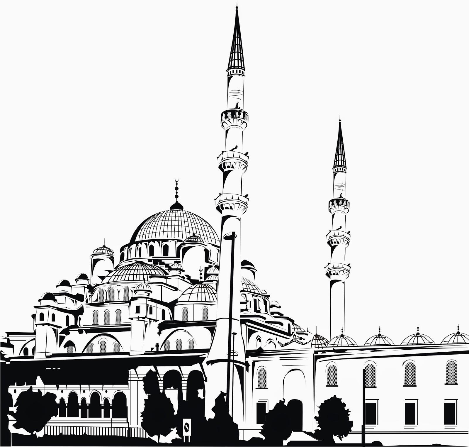100 Foto Gambar Masjid Hitam Putih Hd Paling Keren