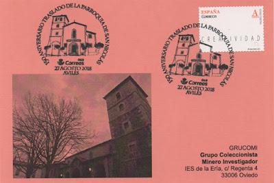 Tarjeta con el matasellos del 125 aniversario del traslado de la parroquia de San Nicolás de Bari