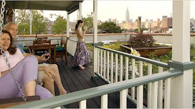 Casa, porche y pradera en una azotea de Greenwich Village, Nueva York