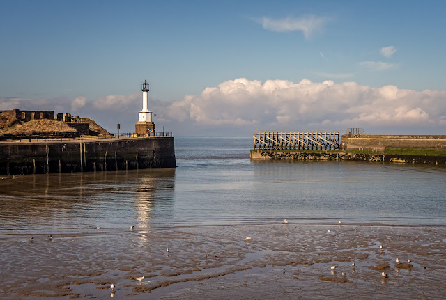 Photo of Maryport lighthouse in the sunshine yesterday