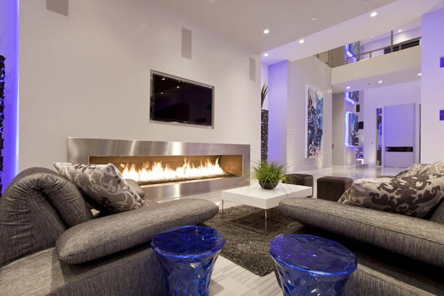 Modern Living Room Designs With The TV and Fireplace