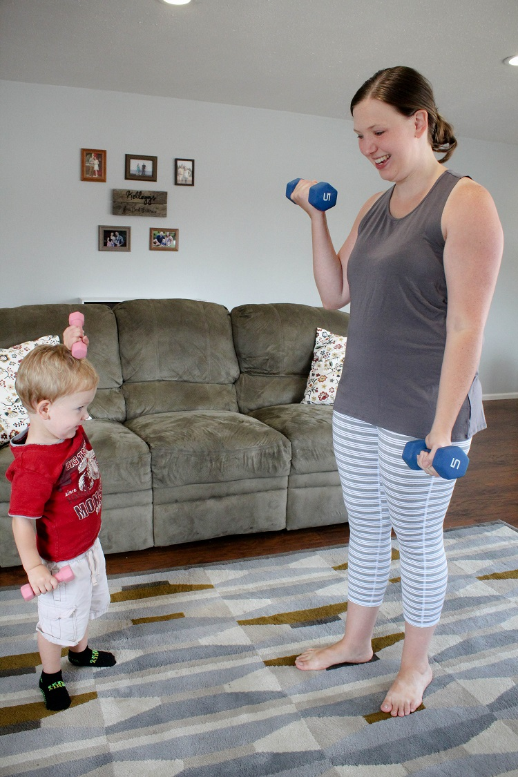 It's so hard to work out with a toddler running around but, with a little creativity and getting them involved, it's totally doable!