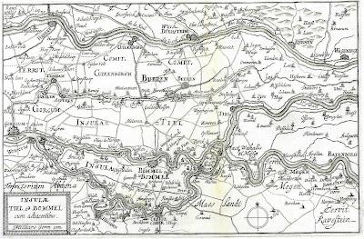 Westelijk deel van de Betuwe, (bron: Historische Atlas van het Rivierenland)