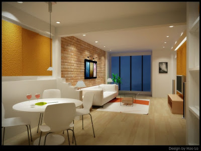 modern living room design with dining area
