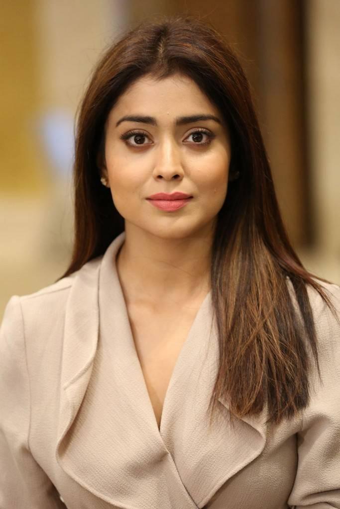 Shriya Saran Stills In Pink Dress At Movie Press Meet