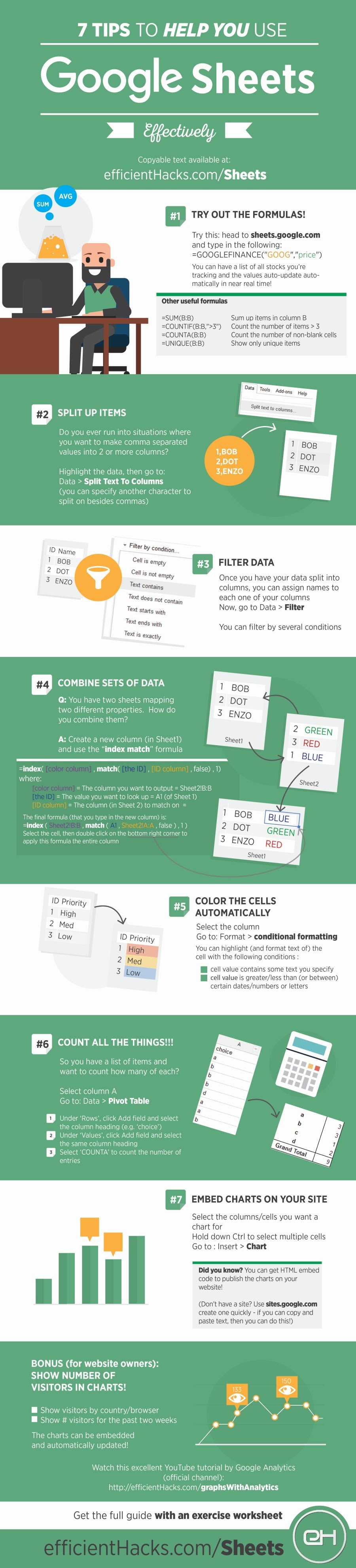 7 Tips To Help You Use Google Sheets Effectively - #infographic