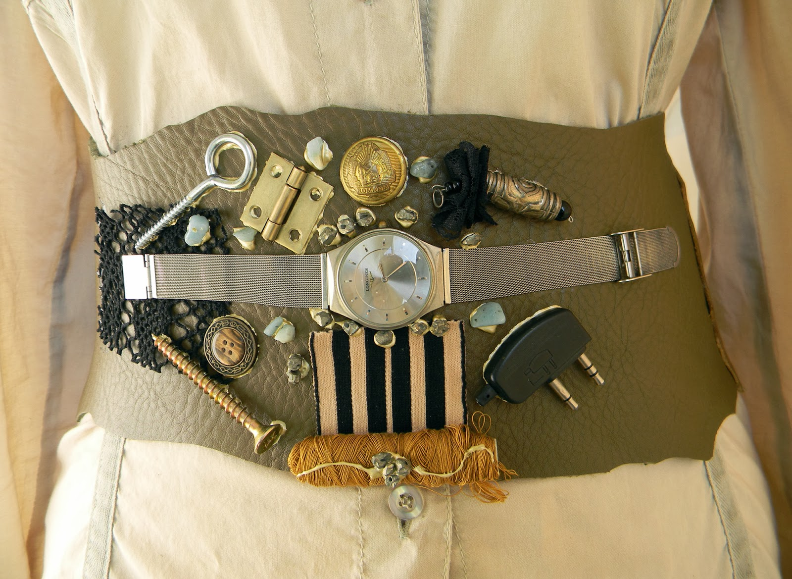 Steampunk Couture Leather Belt Modern Fashion Collage Waist Belt