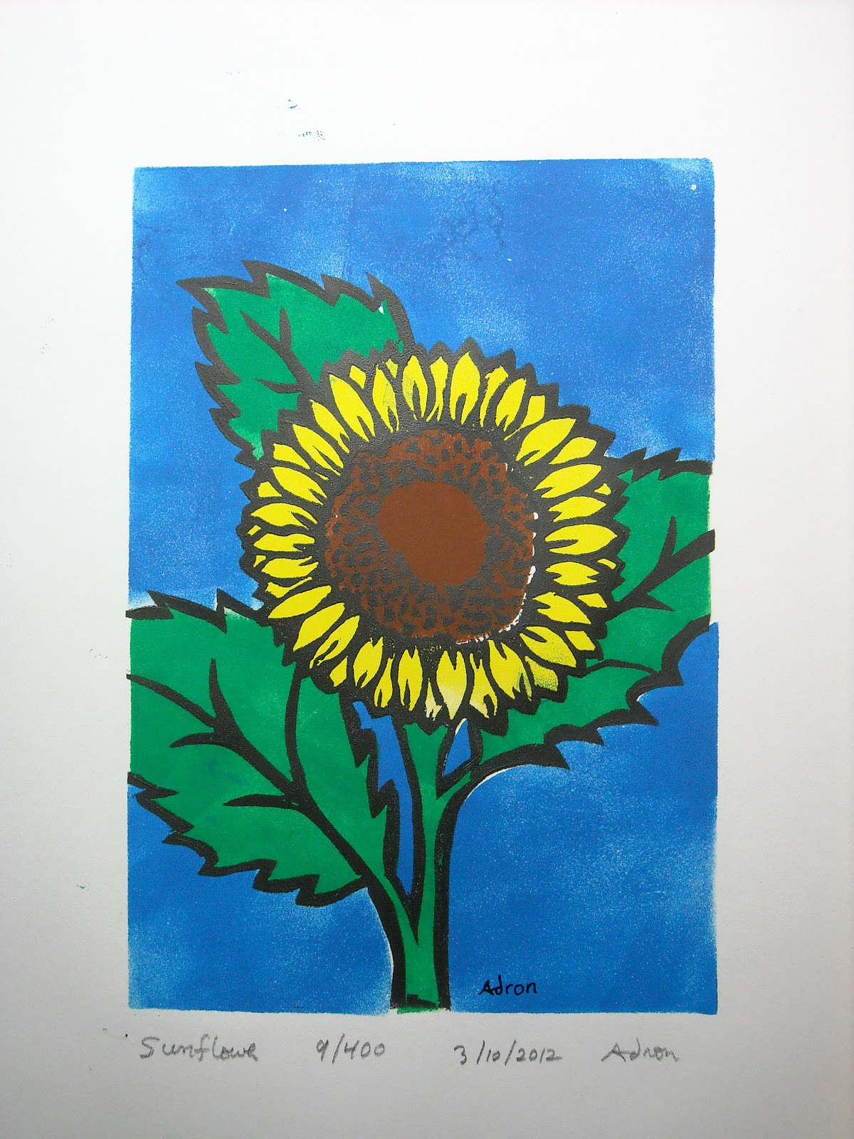 Artist Adron Sunflower Hand Made Print 14x11