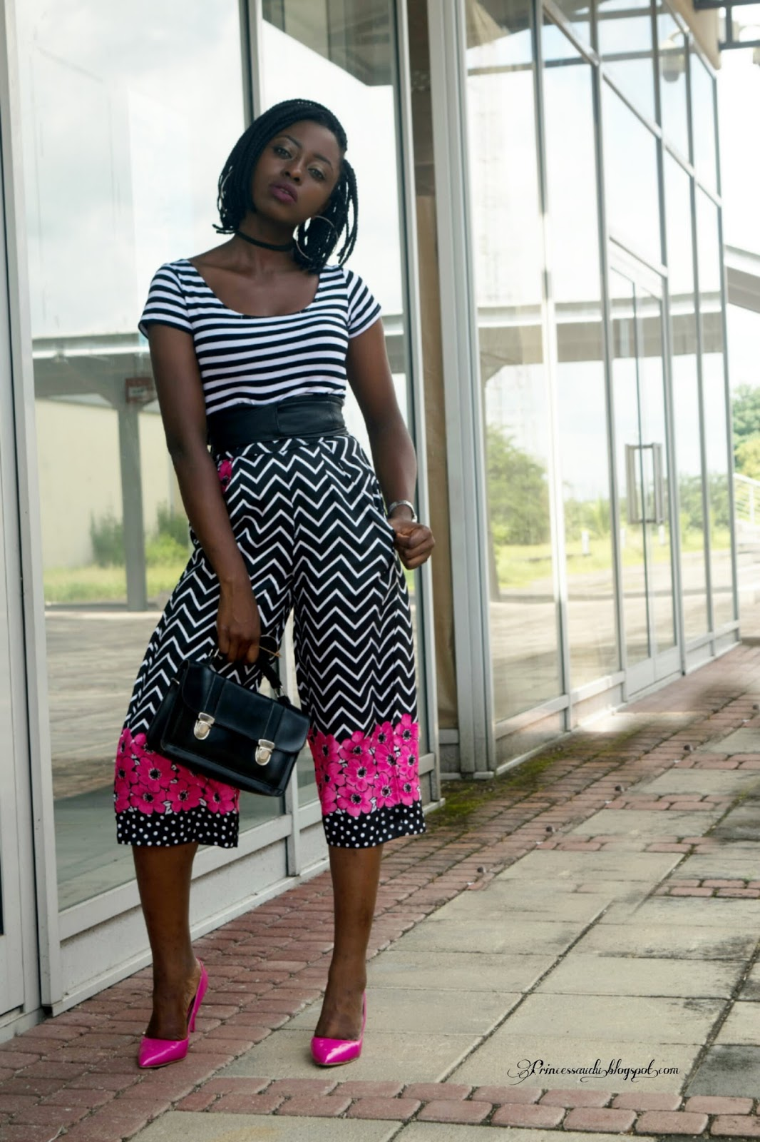 Culottes,  flared trousers,  choker, trend,  mixed prints,  stripes