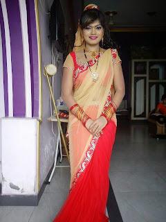 Nisha Dueby in Red Sharee Photo