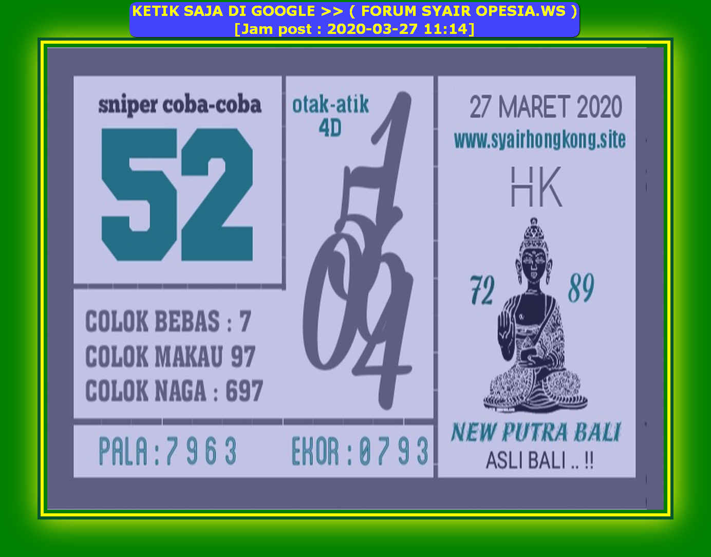 Kode syair Hongkong Jumat 27 Maret 2020 113