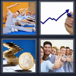 4 fotos 1 palabra 1 euro yoga flecha monedas gráfica personas