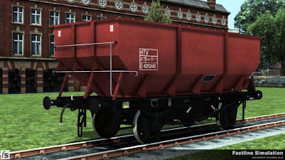 Fastline Simulation: An example of a rebodied dia. 1/146 hopper painted in freight brown livery with black under frame and running gear.