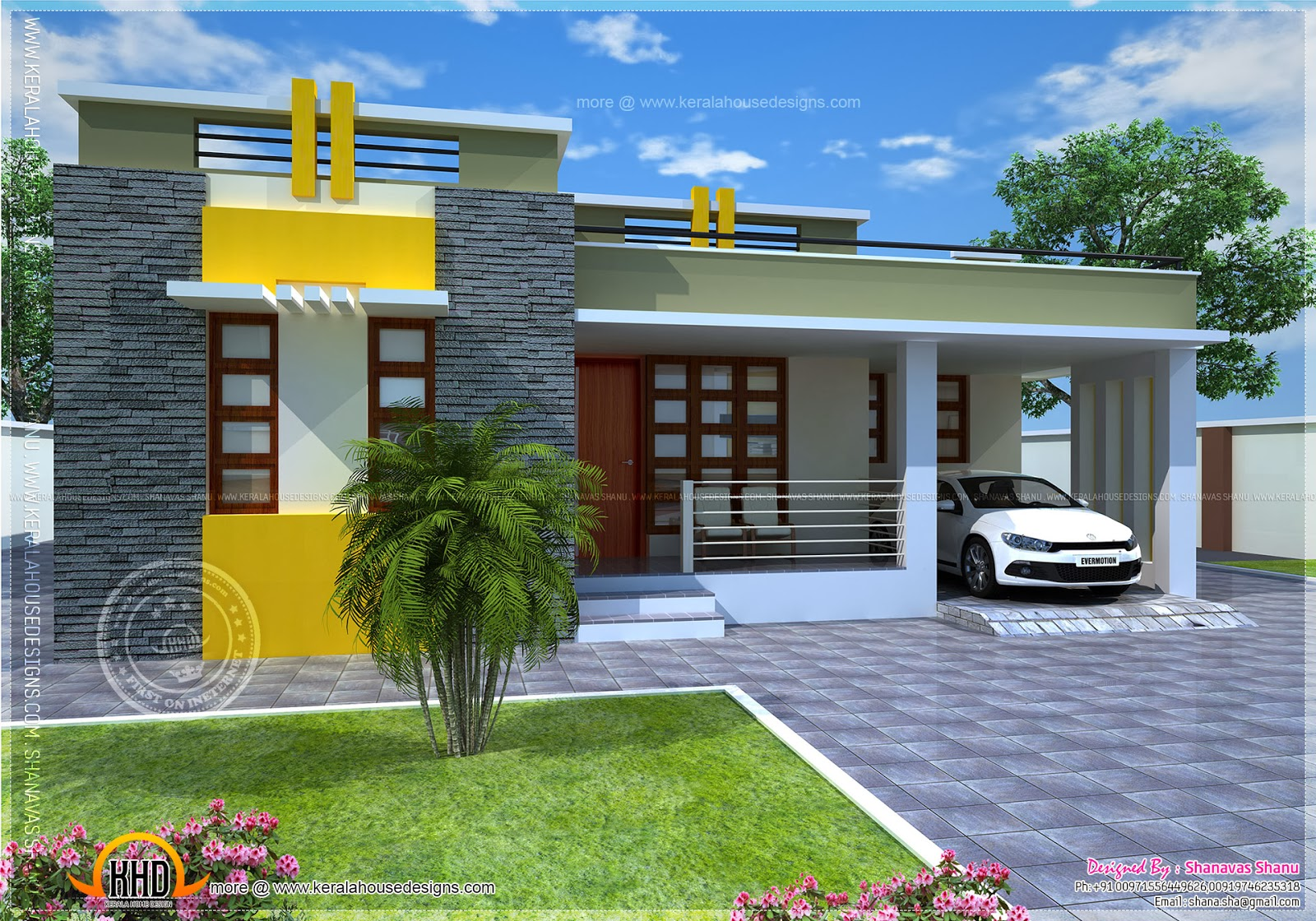 House plan of a small modern villa kerala home design for Small modern house plans two floors