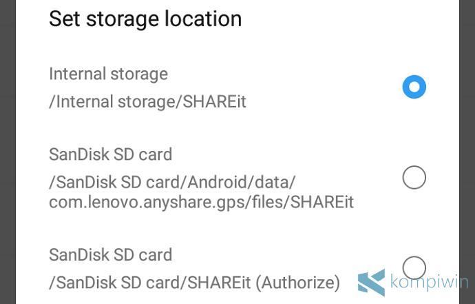 lokasi folder menyimpan file shareit