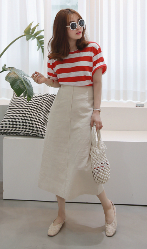 Solid Tone Semi-Elastic Waist Midaxi Skirt