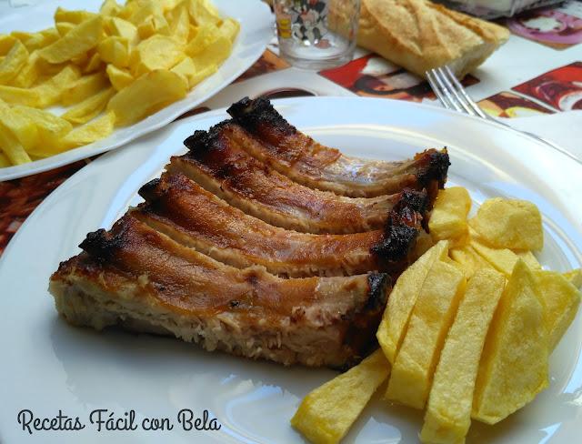 Costilla de cerdo a la mostaza y miel