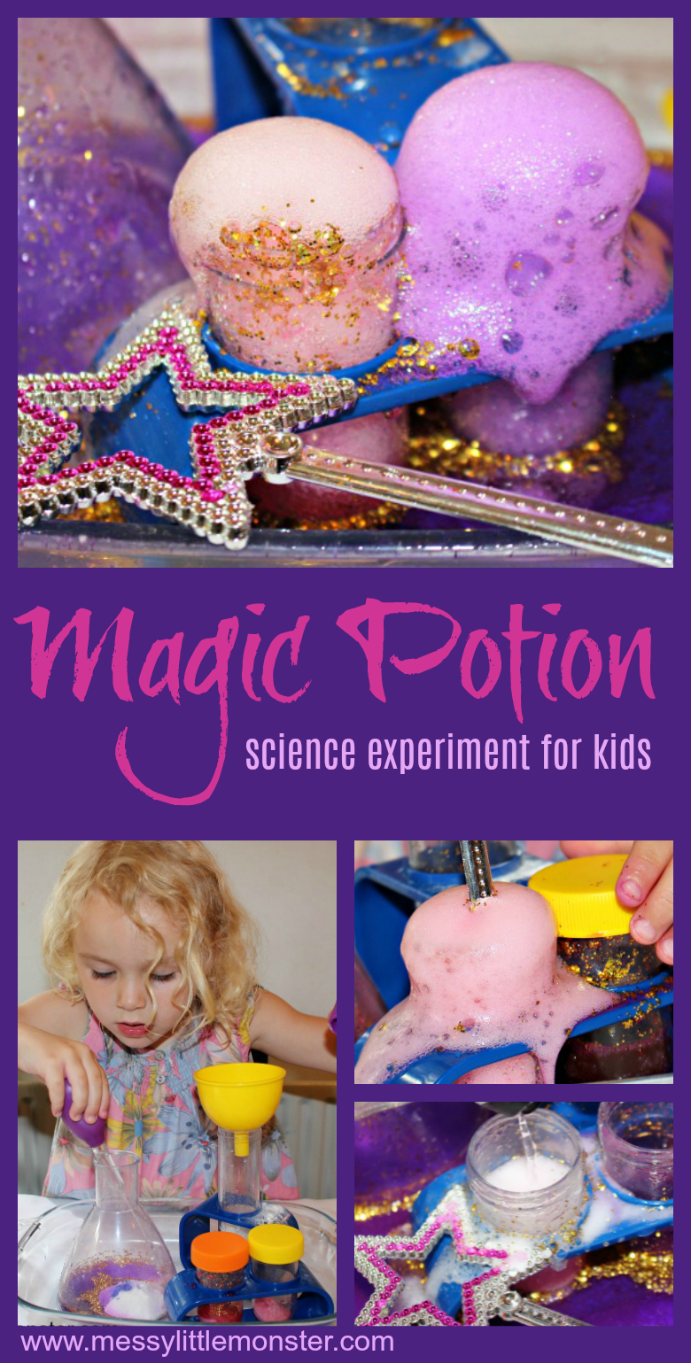 Wow the kids with this fun and easy science experiment for kids. They will be amazed as they watch baking soda and vinegar react to form a fizzing magic potion. This cool science experiment for preschoolers upwards would make a fun Halloween activity for kids!