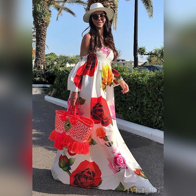 Εντυπωσιακό μάξι χρωματιστό φόρεμα IZOLA WHITE