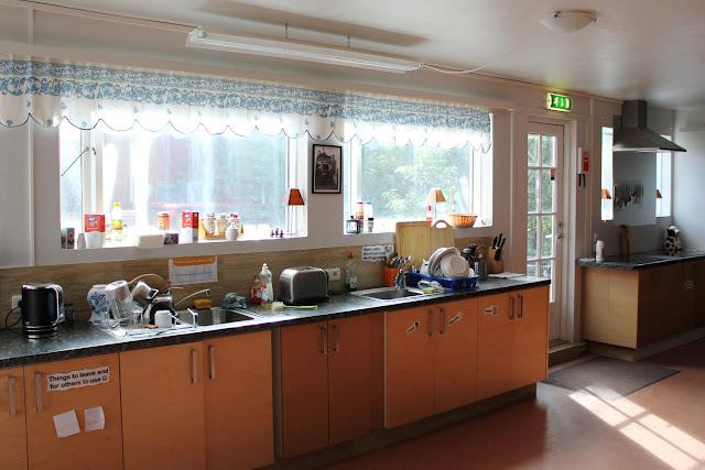 Equipamiento de la cocina del Selfoss Hostel