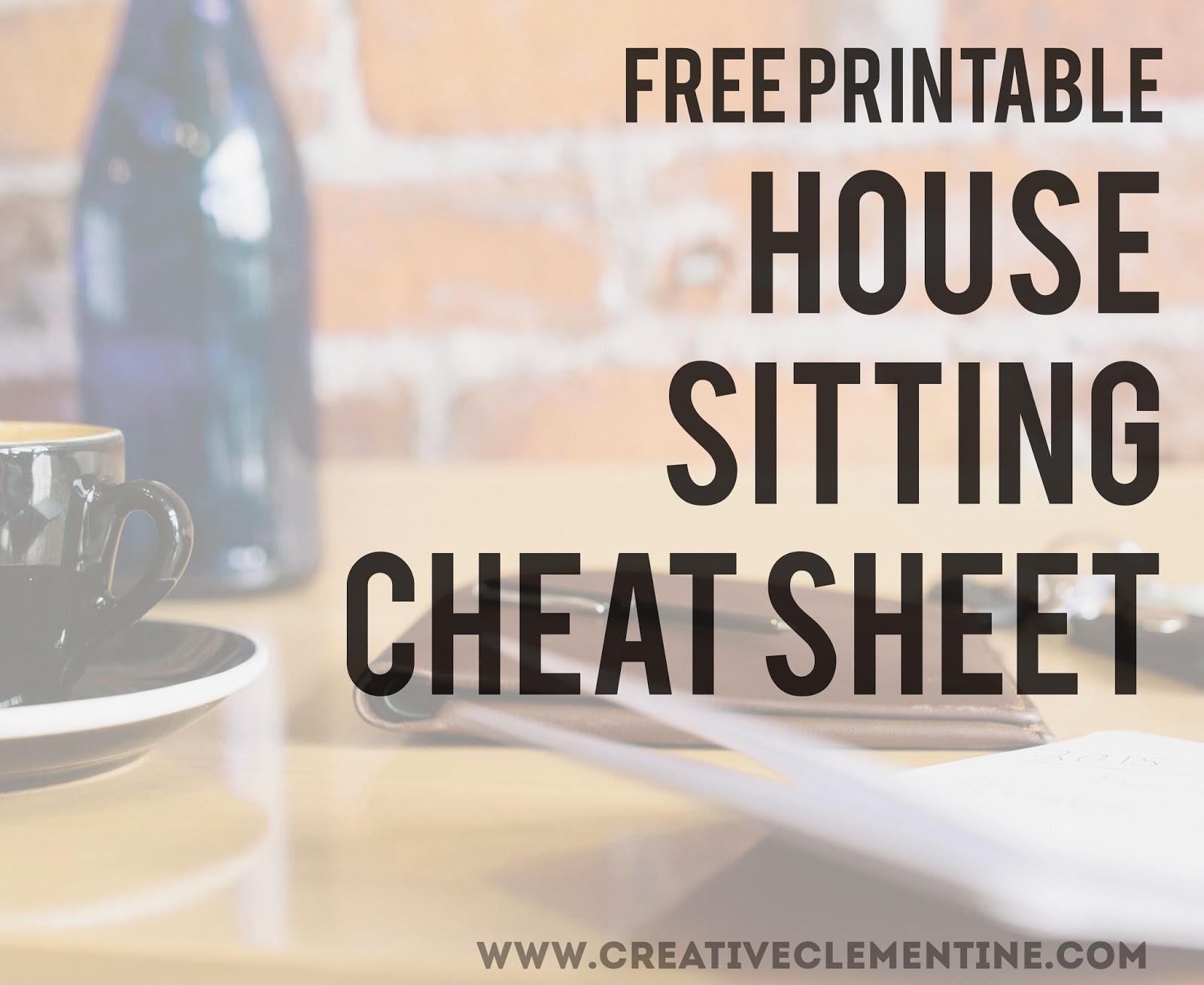 Free House Sitting Printable via Creative Clementine.com